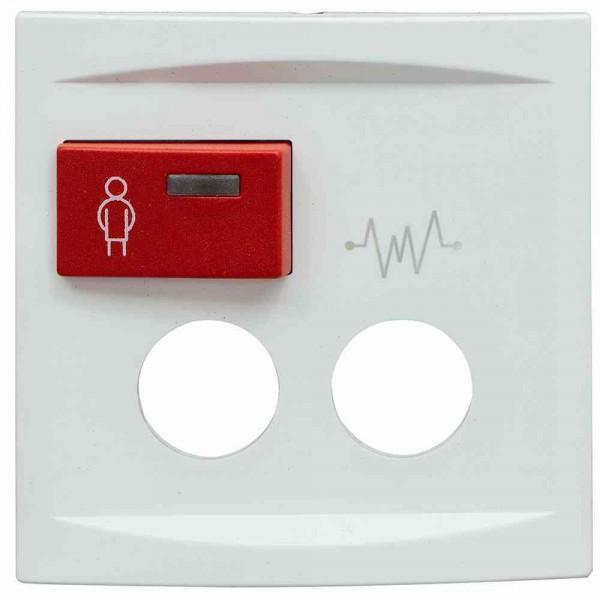 88881J3 Abdeckplatte mit Taste -rot- für 2 Steckkontakte, weiß, B: 68 mm H: 68 m