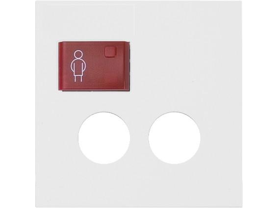 88881J3N Abdeckplatte mit Taste -rot- für 2 Steckkontakte, weiß